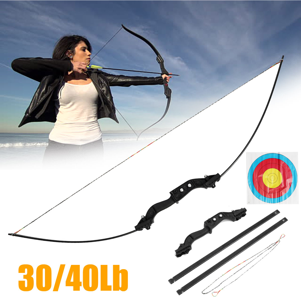30/40l LbS Archery Hunting Bow Carbon Steel Metal Novice Bow Outdoor Hunting Shooting Entertainment hot sale children compound bow draw weight 8 12 lbs for archery practice competition games bow target hunting shooting
