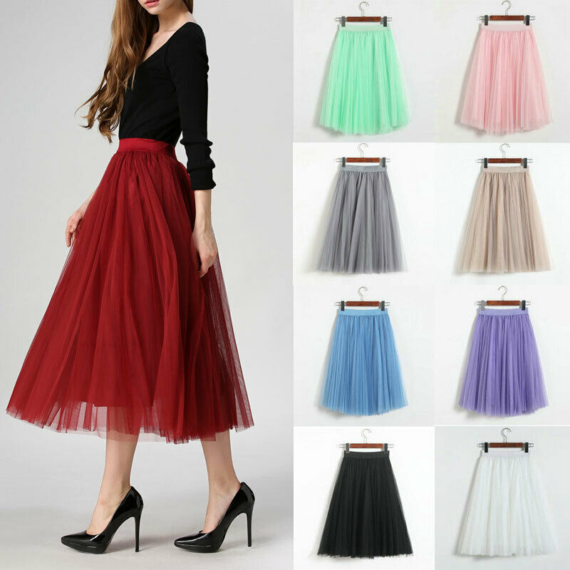 9 Styles Women's Tulle Plain Pleated Skirt 2019 New Fashion Mesh Midi Skirt High Waist Woman Skirts 3 Layers