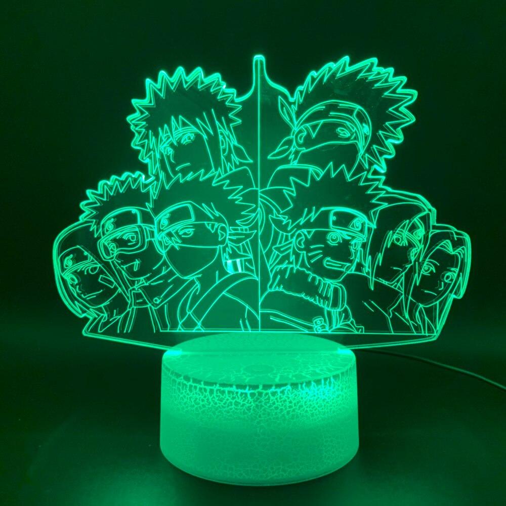 Novelty Light Anime Naruto Team 7 Kakashi Figure Office Home Decor Table Lamp Kids Gift Child 3d Optical Led Night Light Lamp