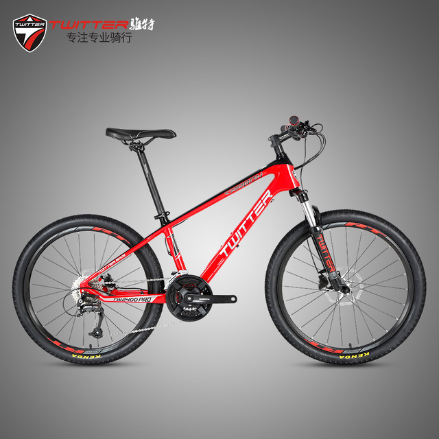 Twitter BMX Mtb Mountain Bicycle 24er Wheels 13.5 Frame 27 Speeds Carbon Fiber Bike Double Disc Brake Ladies Students Cycliing