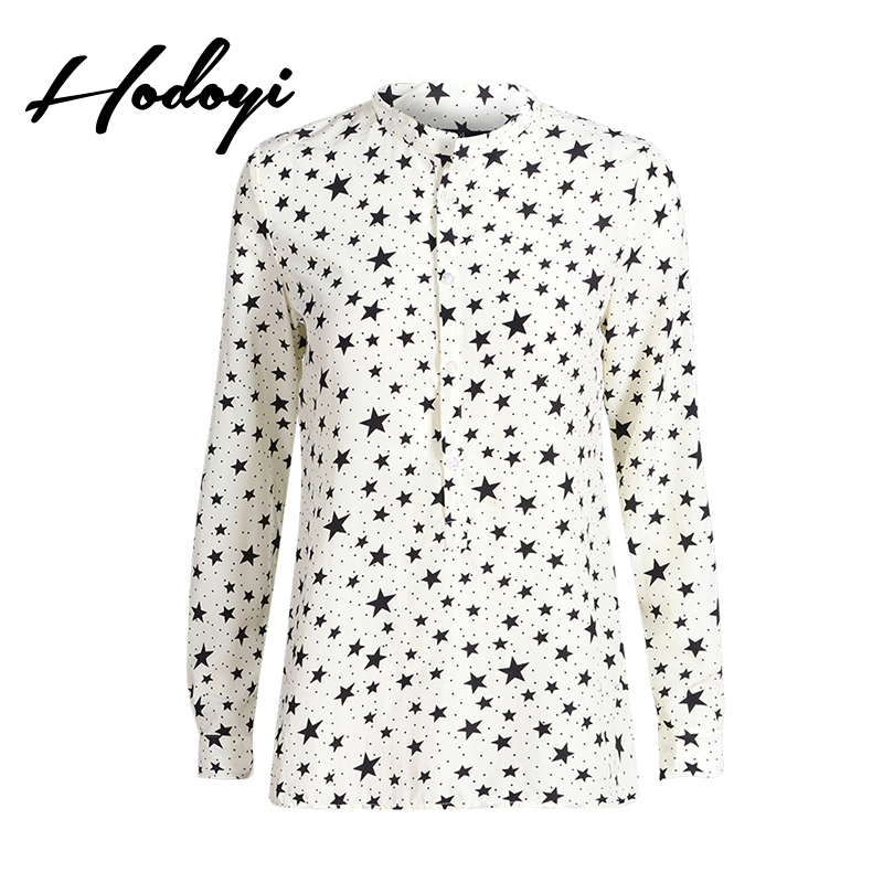 2017 Autumn New Fashion Star Printing Single Breasted Collar Loose Slim Long Sleeved Chiffon Shirt Woman