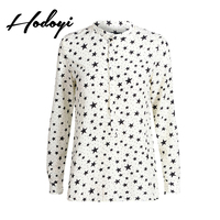 2017 Autumn New Fashion Star Printing Single Breasted Collar Loose Slim Long Sleeved Chiffon Shirt Woman