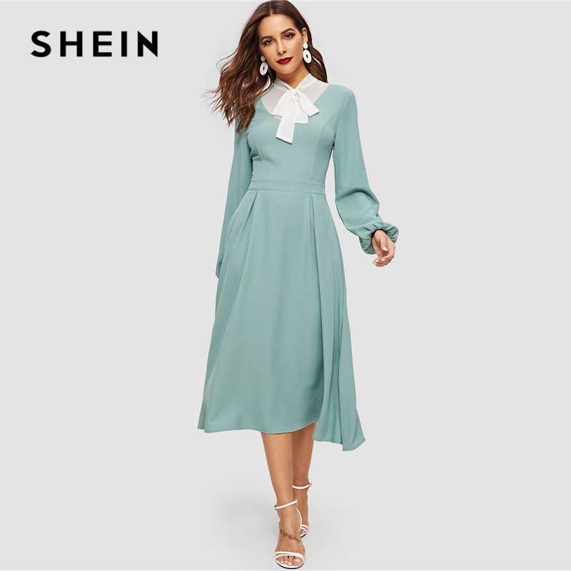 SHEIN Элегантное Платье С Бантом Стильное Офисное Платье С Длинным Рукавом Винтажное Платье