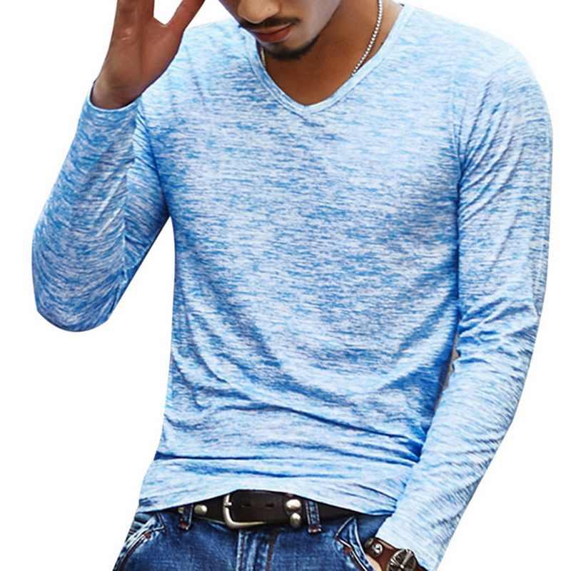 SHUJIN wiosna jesień mężczyźni z długim rękawem T-Shirt Splash-Ink moda druk atramentowy-łuszcz mężczyźni luźna koszulka mężczyzna Top