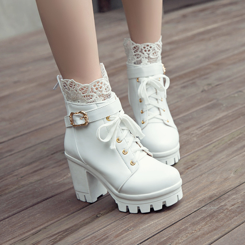 Gothic Buckle Lace Up Shoe Zip Boots Womens Studded High Heel Mid Calf Rivet T1