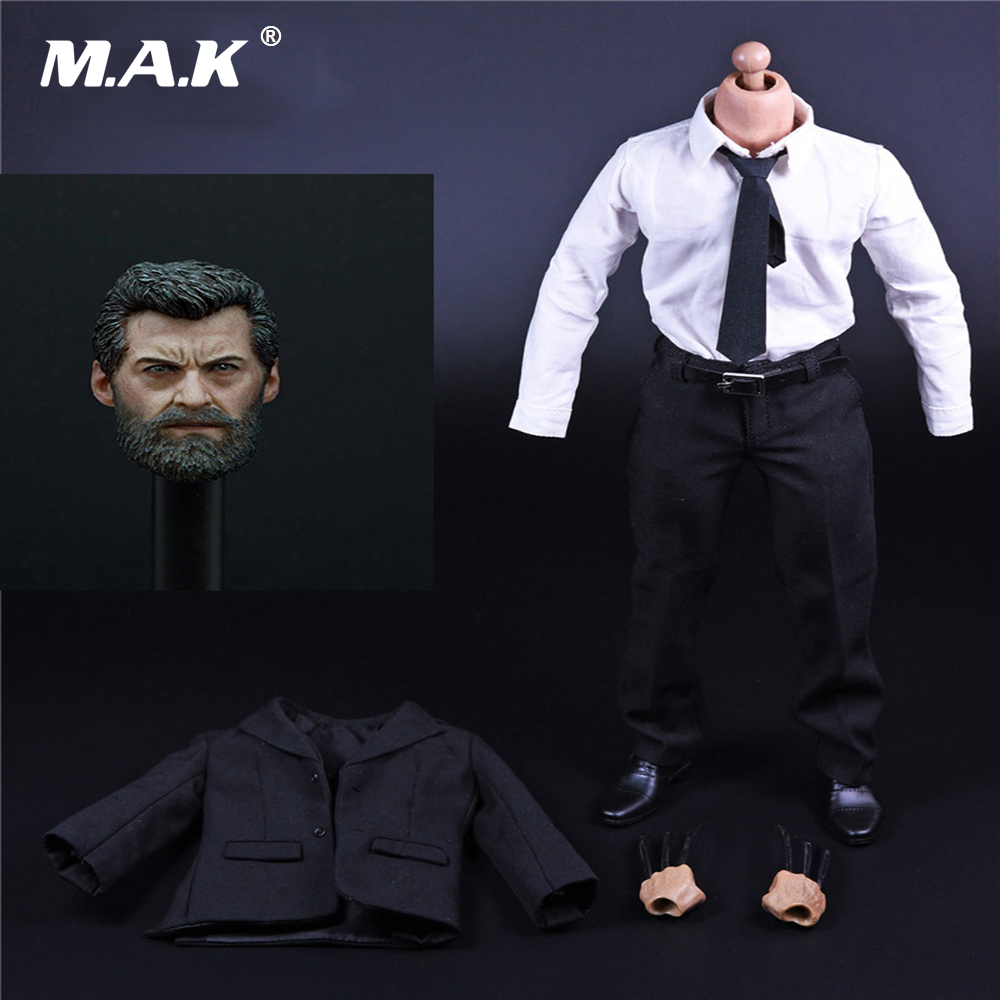 1:6 Scale Old Hugh Jackman Logan Full Action Figure Wolverine Head Sculpt & Body & Suit Clothese with Wolf Claws Figure 1 6 scale wolverine 3 hugh logan head sculpt clone version with short hair for 12 inches male bodies dolls figures gifts toy