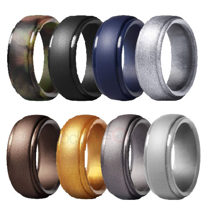 4PCS Men/'s Silicone Wedding Engagement Ring Band Hypoallergenic Jewelry Size6-12