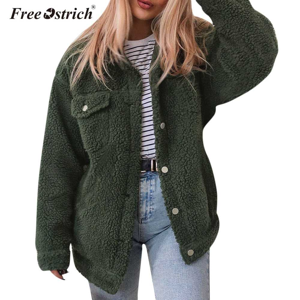 Free Ostrich Fleece Jacket Women Outwear Solid Turn-Down Collar Button Pockets Winter Coat Women Chaquetas Invierno Mujer N30