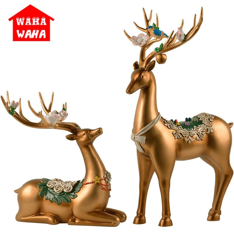 European Couple Deer Figurine Ornaments Resin Deer Miniature Handicraft Ornament Resin Animal Figurines Wedding Decorations