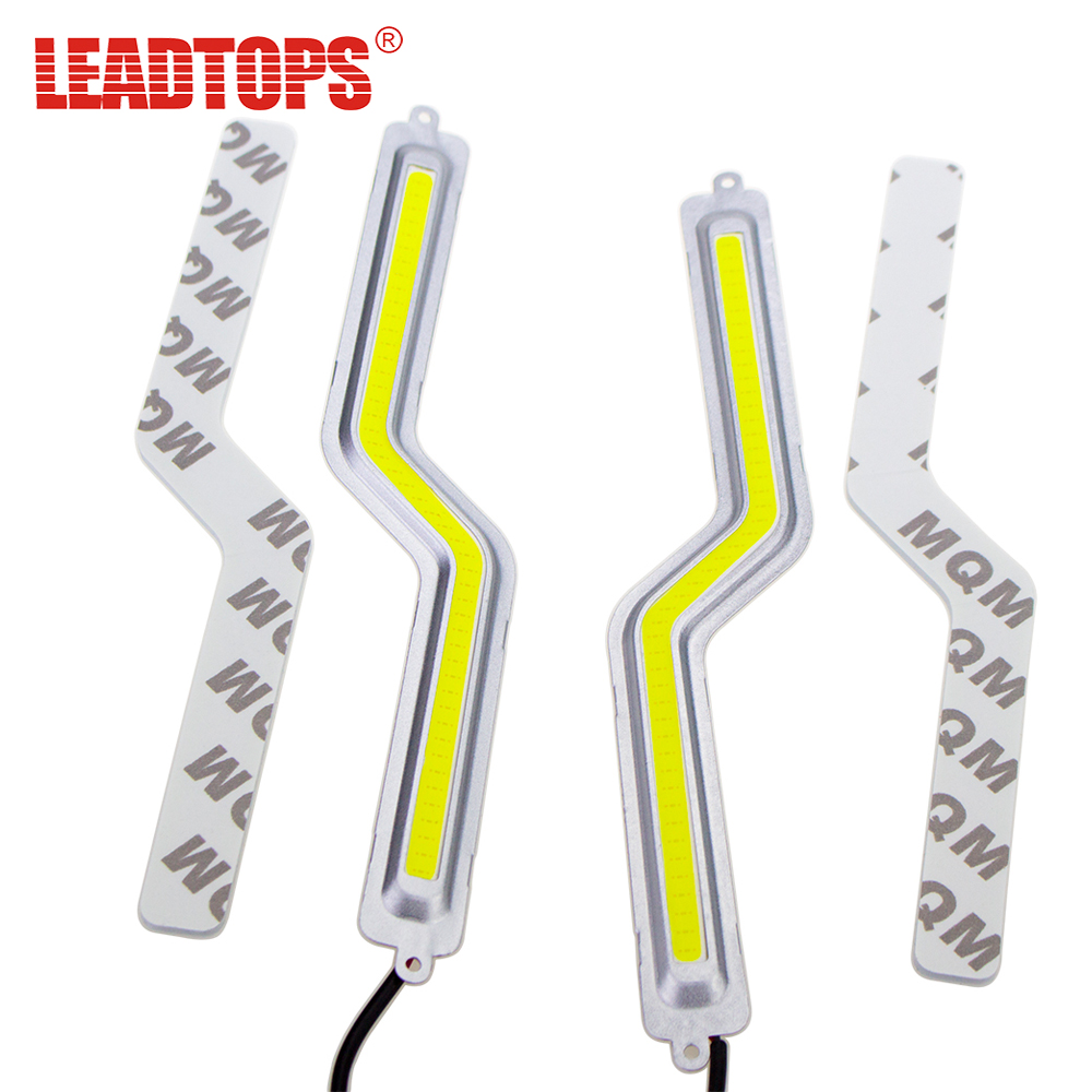 LEADTOPS LED Daytime Running Light 2PCS 100% COB Chip LED DIY DRL Fog Car Lights Car Day Lamp 12V For Audi/ VW /Toyota /Mazda BE wljh 2x car led 7 5w 12v 24v cob chip 881 h27 led fog light daytime running lamp drl fog light bulb lamp for kia sorento hyundai