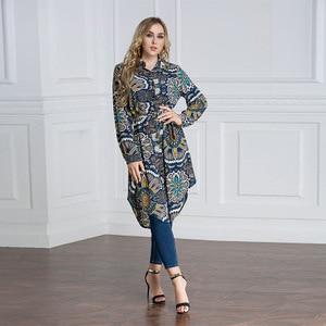 Image 2 - Plus VAE Islam Arabisch Lange Blouse Tops Vrouwen 6XL 7XL 2019 Maleis abaya Moslim Turkse vrouwen WearLoose Shirt Grote size