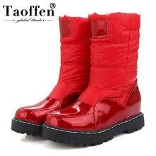 Taoffen nowa zimowa kobieta matka buty antypoślizgowe wodoodporne buty ocieplane bawełną kobiety macierzyństwo pluszowe śniegowce rozmiar 33 43