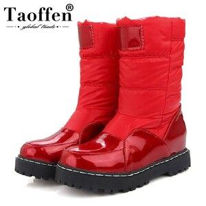 Image 1 - Taoffen nowa zimowa kobieta matka buty antypoślizgowe wodoodporne buty ocieplane bawełną kobiety macierzyństwo pluszowe śniegowce rozmiar 33 43