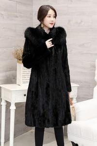 Image 5 - 2018 חדש נשים של חתיכות טבעי אמיתי מינק פרווה מעיל עם קפוצ ון ארוך סגנון מלא שרוול אמיתי פרווה החורף להאריך ימים יותר