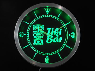 Nc0294 Tiki Bar masque bière néon signes horloge mur LED