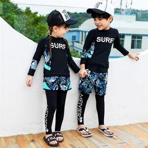 Image 3 - 2020 Fashion rashguard kids swimwear big child two/three sun protection uv shirt+shorts+pants swim surf suit boy/girl 85 165CM