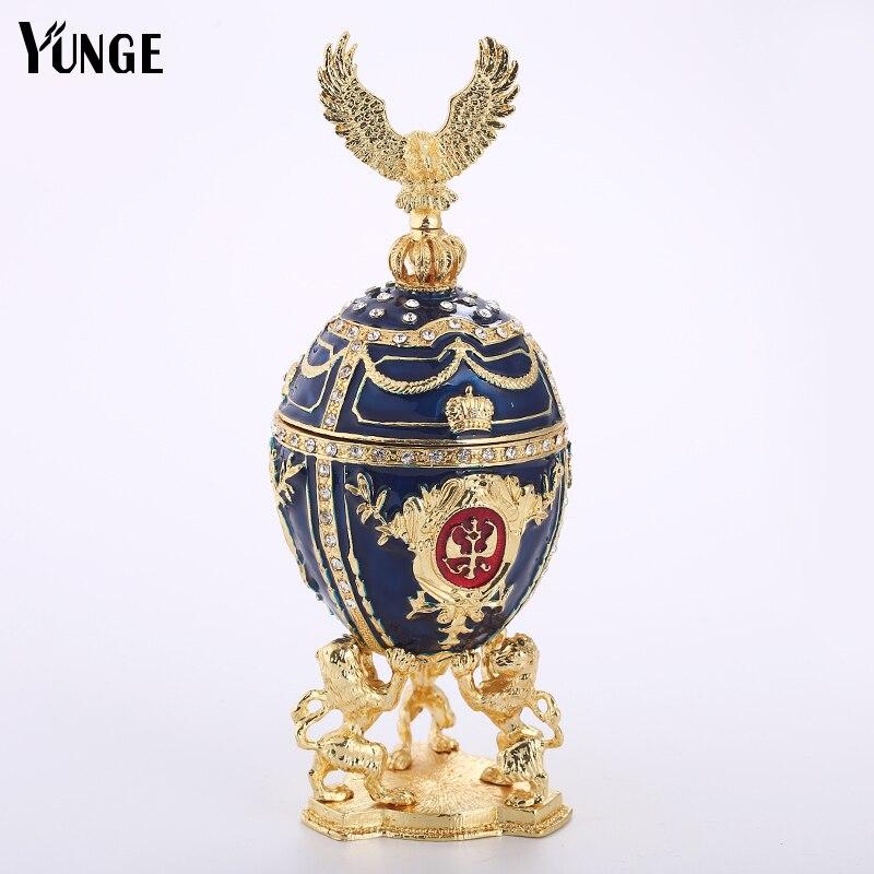 Лев Поддержка России яйца Jewelry шкатулка Винтаж украшения дома Faberge стиль пасхальное яйцо магнит изделия из металла подарок на День Рожде