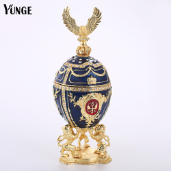 Lion Support Russia Eggs Jewelry Trinket Box Vintage Home Decoration Faberge Style Easter Egg Magnet Metal Crafts Birthday Gift