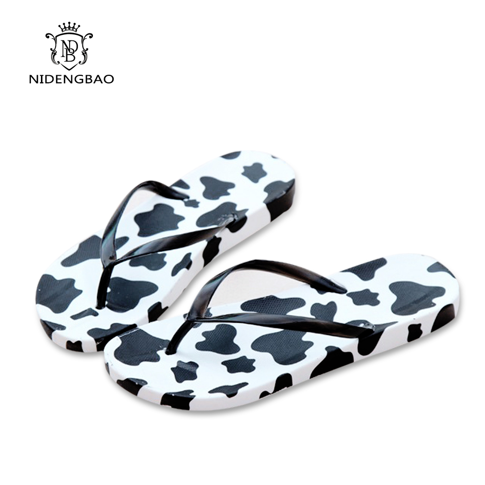 ae9a391ed 2017 Fashion Summer Beach Flip Flops Women Slippers Cute Popular Cow  Pattern Sandals Lady Flats Shoes
