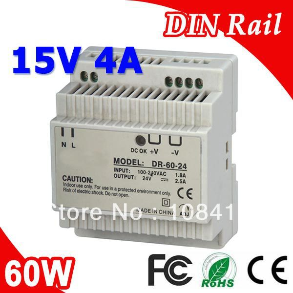 цена на DR-60-15 LED Single Output Din Rail Power Supply Transformer DC 15V 4A Output SMPS