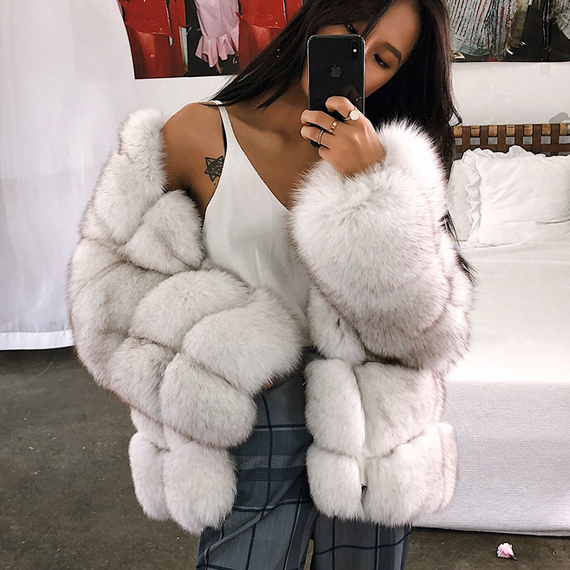 47a1d3e2df8 Detail Feedback Questions about UPPIN Large Sizes Elegant Faux Fur Coat  Jacket Women New Styles Thick Winter Outerwear Imitation Ladies Fox Fur  Jackets ...