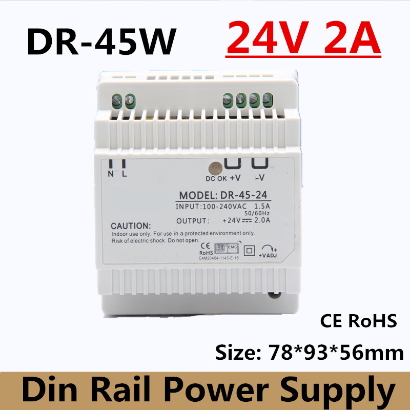 free shipping 45W 24v 2A single output din rail mounted type power supply ac 110v 220v to dc 24v suit meter box (model:DR-45-24) стоимость