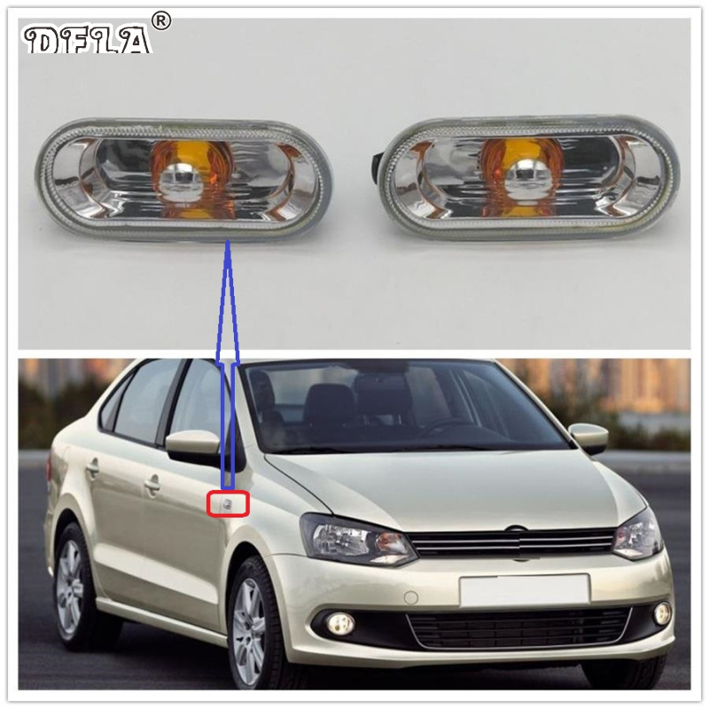 2pcs For VW Polo Sedan 2010 2011 2012 2013 2014 2015 2016 2017 Car-Styling Side Marker Turn Signal Light Lamp Repeater