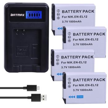 4Pcs 1800mAh EN-EL12 EN EL12 Camera Batteries + USB LCD Charger for NIKON Coolpix AW100 AW120 S9900 S9500 S9200 S8200 S6300 P330 фото
