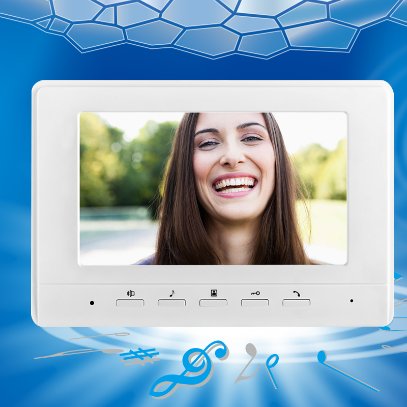 7 inch TFT-LCD Color Video DoorPhone Indoor Monitor Unit Screen Without IR Camera Video Door Bell For DIY Intercom System Best 7 inch video doorbell tft lcd hd screen wired video doorphone for villa one monitor with one metal outdoor unit night vision