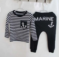 hot sell retail cotton kids boy and girl summer suit striped t-shirt + marine design pants 2pcs clothing set