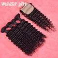 Перуанский глубокая волна с закрытия Дешевые Перуанский девственные волосы с закрытие 4 расслоения с шелковой база закрытия без пролития человеческой волос