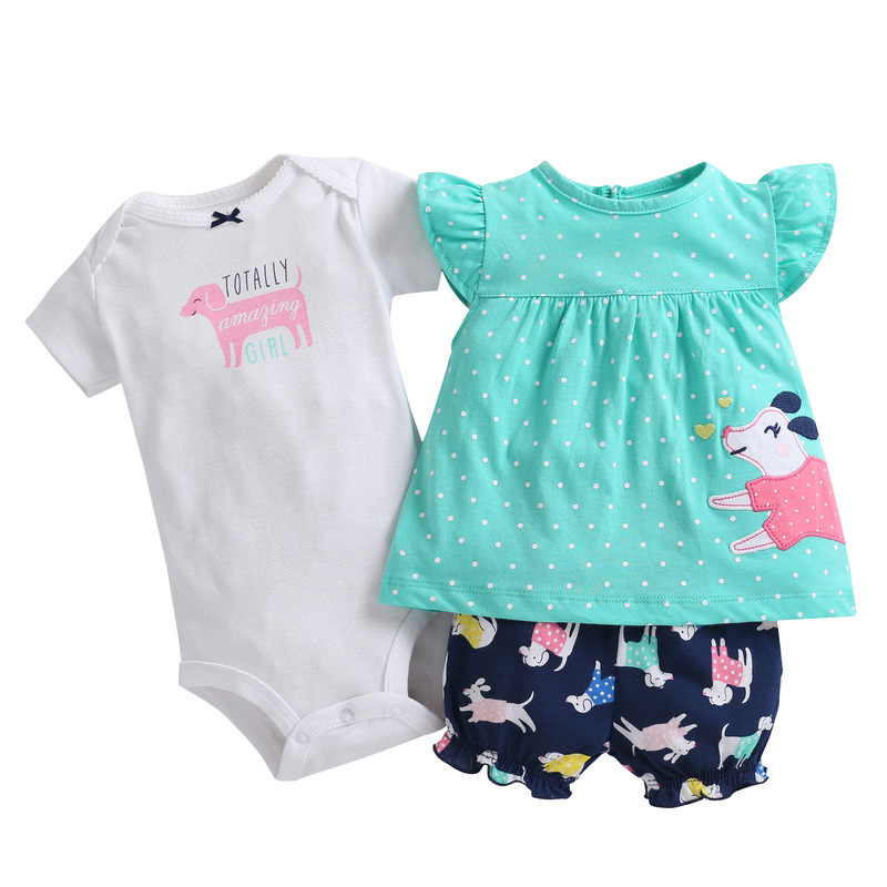 3 Pieces Baby Girls Clothes Sets Summer Children Bebe bodysuit+tops+shorts super cute Soft Cotton Bebies Kids Clothing Outfits cute girls kids summer outfits clothes white lace crochet vest tops shorts briefs set clothes back bandage clothing 2 7y