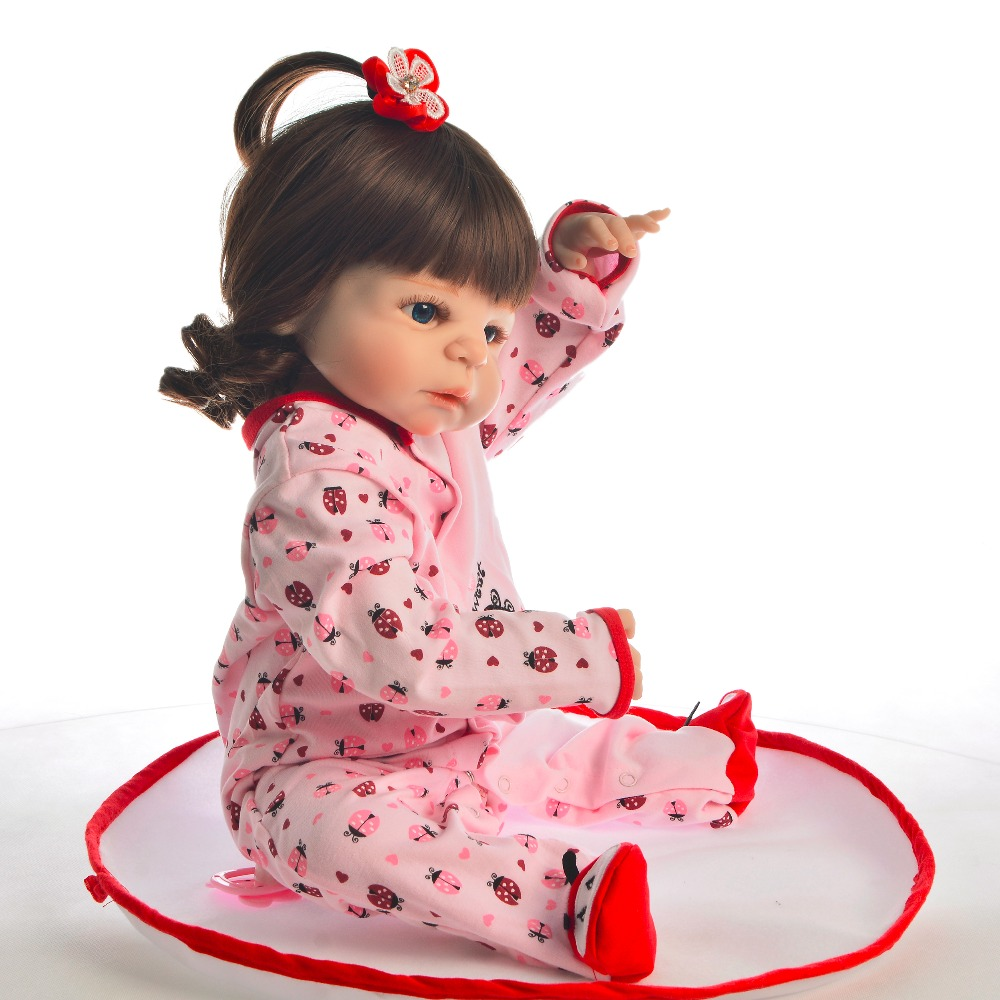 55cm Silicone Body Reborn Baby Doll Pretty curly princess For Girl Vinyl Newborn Babies Bebe Bathe Accompanying Toy party Gift in Dolls from Toys Hobbies
