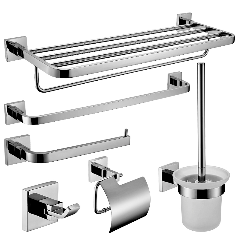 sus304 stainless steel round base chrome bathroom accessories set polished wall mounted bath hardware set glass