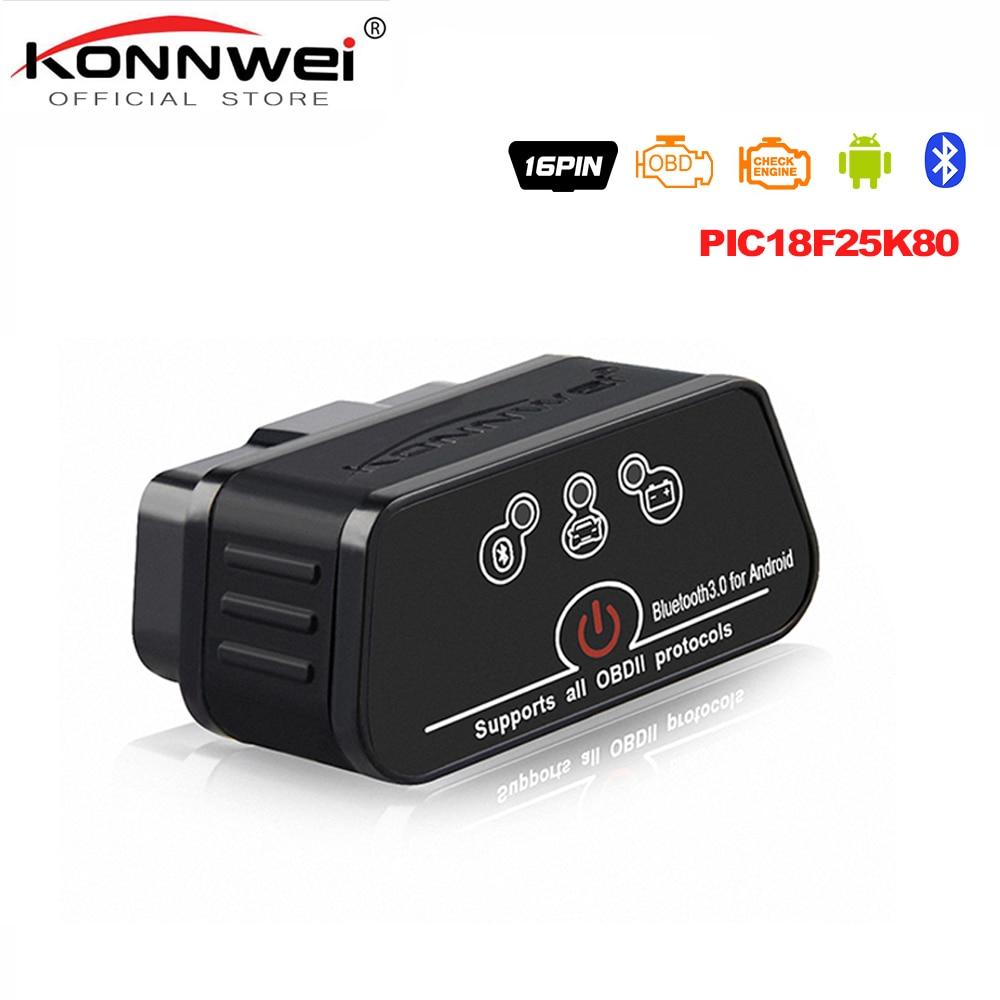 ELM327 OBD2 Scanner Auto Scanner ICar2 KONNWEI Bluetooth ELM 327 V 1.5 Car Diagnostic Tool EML327 OBD 2 Scanner Pic18f25k80 Chip
