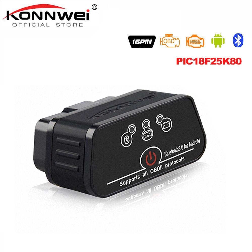 ELM327 OBD2 Scanner scanner Auto KONNWEI ICar2 Bluetooth ELM 327 V 1.5 Auto Strumento Diagnostico EML327 OBD 2 Scanner Pic18f25k80 Chip