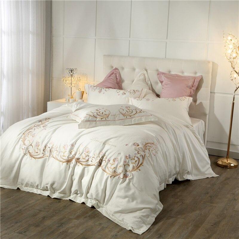 Juego de cama de algodón egipcio estilo princesa gris Cream Whie juego de cama tamaño Queen King cama rosa púrpura cama edredón cama hoja-in Juegos de ropa de cama from Hogar y Mascotas    2