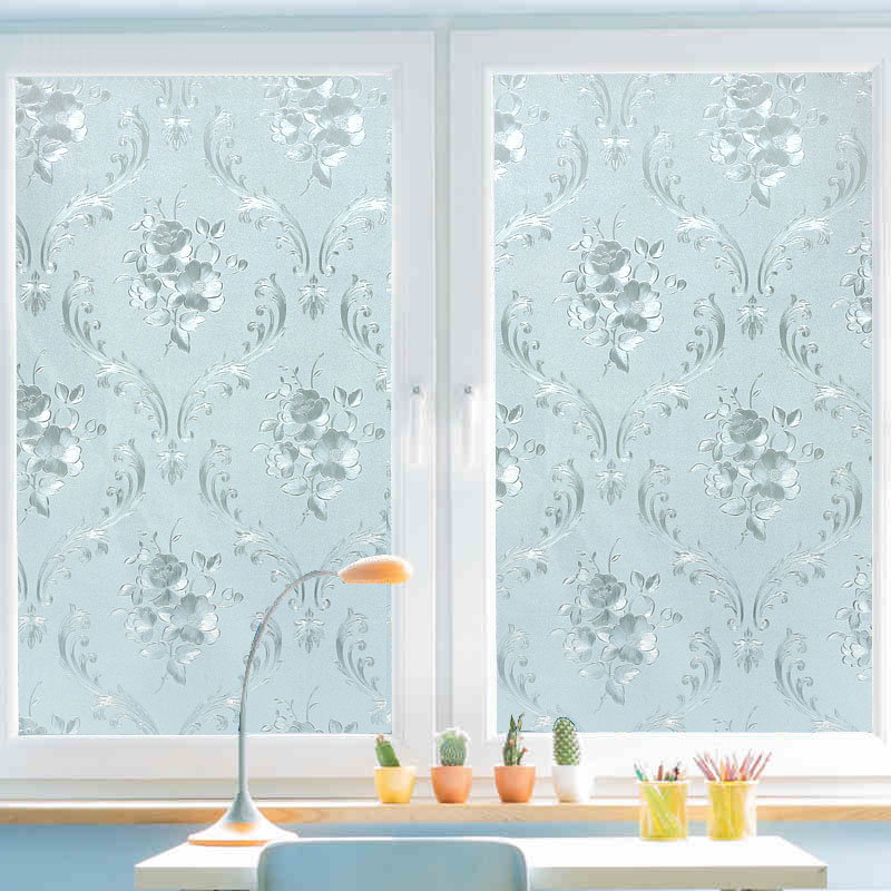 45x200cm static window film frosted glass sliding door bathroom window stickers translucent opaque flowers pattern