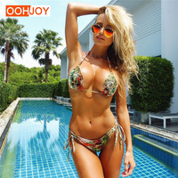 2018 New Sexy Snakeskin Pattern Bikini Swimsuit Women Rope Tied Bathing Suit S L Girl Swimwear