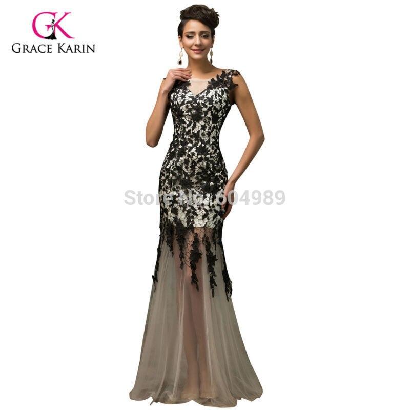 Grace Karin Black Red Long Lace Mermaid Evening Dresses 2018 elegant ...