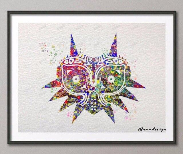 Acuarela original leyenda de Zelda Majora máscara lienzo pintura ...