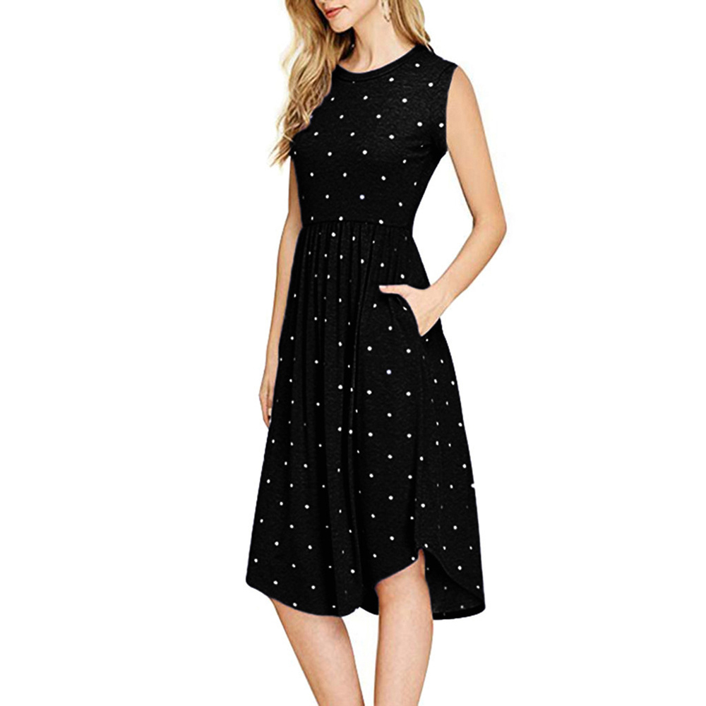 <font><b>2019</b></font> Summer Women's Polka Dot Sleeveless Slim Pocket Dress Jurk Pleated Dress <font><b>Vestido</b></font> <font><b>Largo</b></font> <font><b>Verano</b></font> <font><b>Mujer</b></font> Polka Dot Dress image
