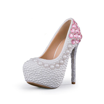 Vogue White Pearl Formal Shoes Luxury Pink Crystal Wedding Shoes Beautiful Wedding Party Stiletto High Heels pumps