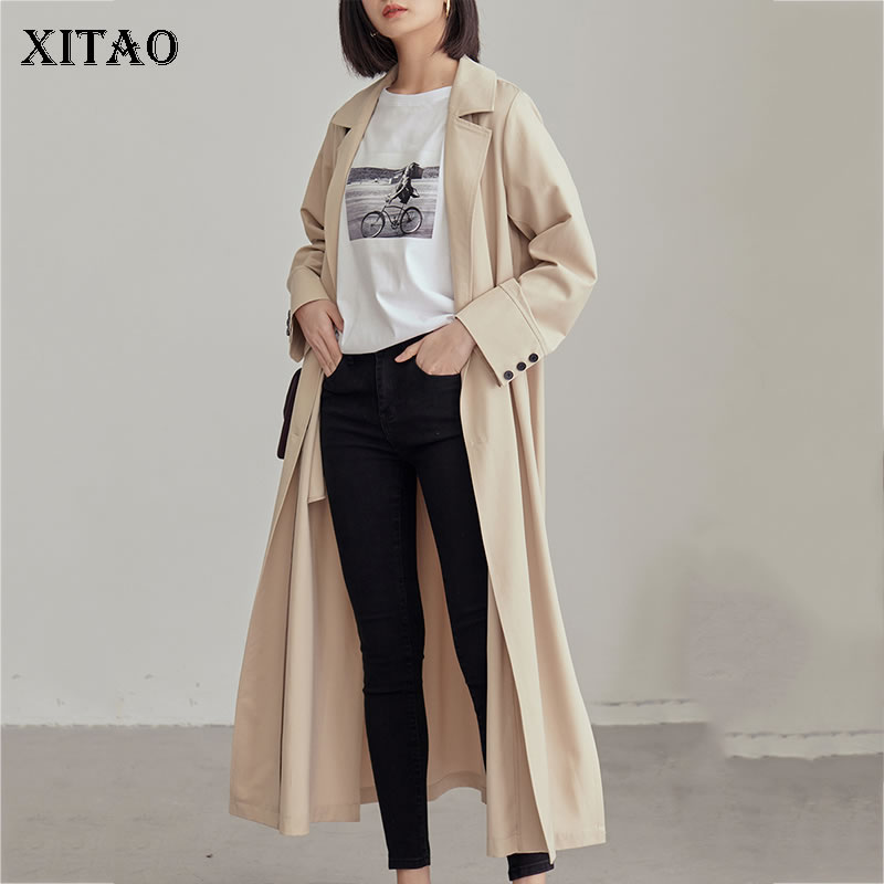 [XITAO] 2019 New Europe Casual Loose Suit Collar Double-breasted Solid Color Full Sleeve Long   Trench   Fashion   Trench   ZQ1211