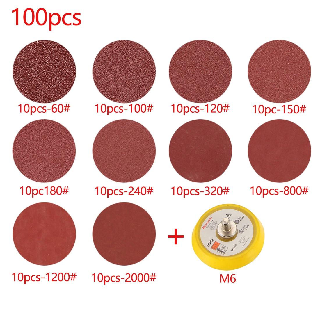 """100pcs 60-2000# 2/"""" Hook Loop Sandpaper with Sanding Pad 3mm Shank"""
