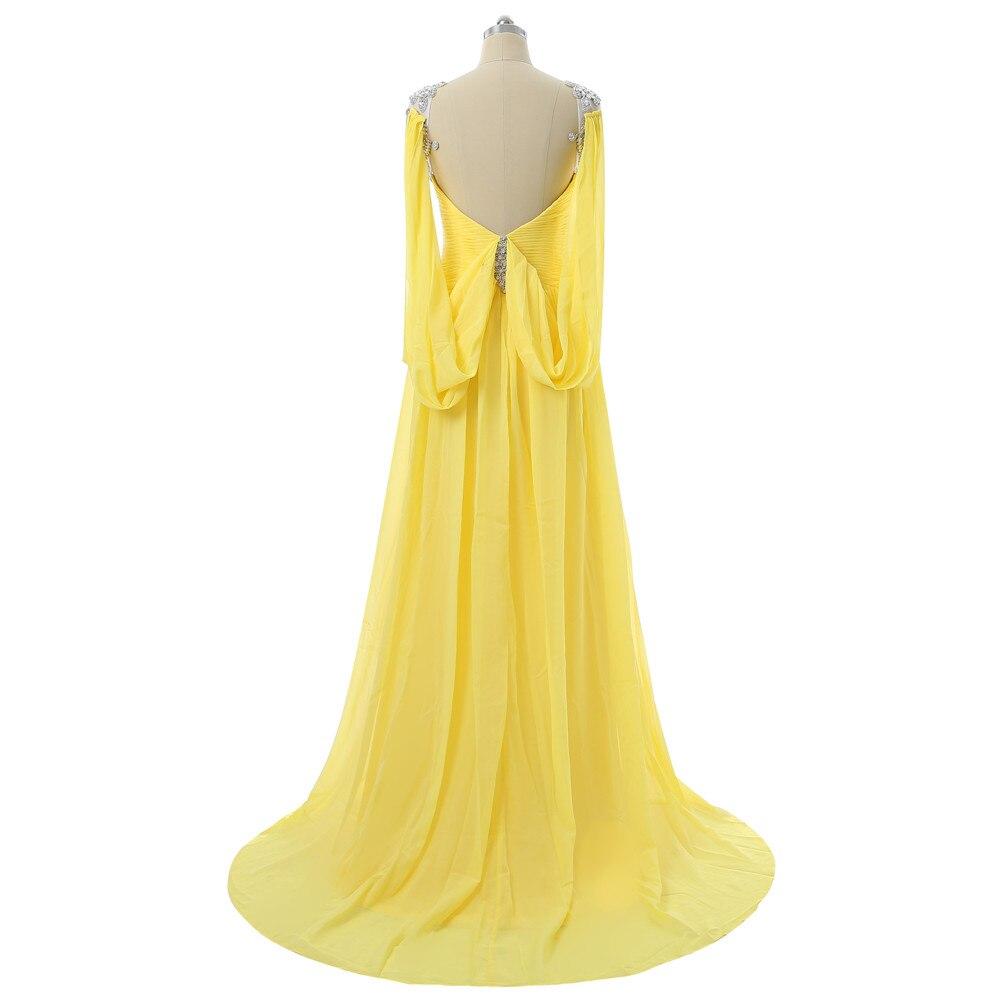 Robes De soirée jaunes 2019 a-ligne col en v Cap manches en mousseline De soie cristaux dos ouvert longue Robe De soirée Robe De bal Robe De soirée - 4