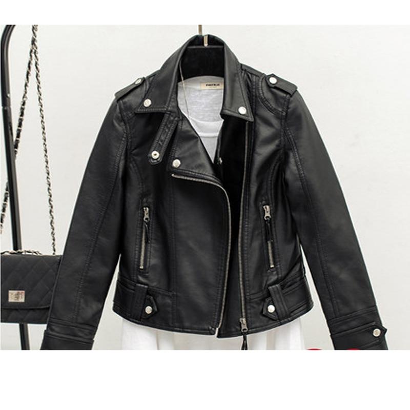 Moto Turn Courts Ht120 down Pu Femmes Noir Manteaux cuir Vestes Zipper Femelle Pu Slim Collar Dames vZgYqO