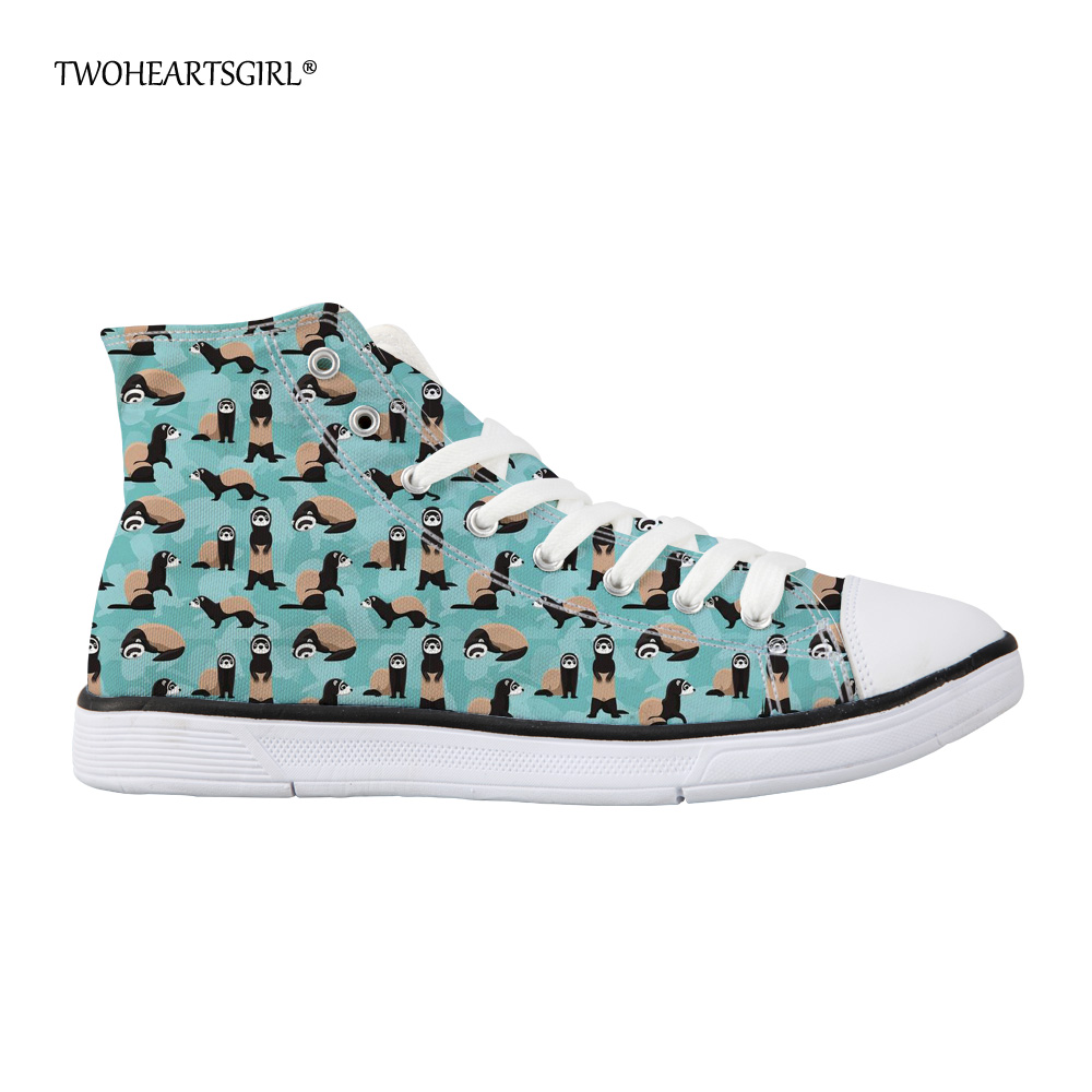 Twoheartsgirl 2018 Fashion Women High Top Canvas Sneakers Shoes Womens Cheeky Ferrets Vulcanized Shoes Lady Ankle Canvas Shoes
