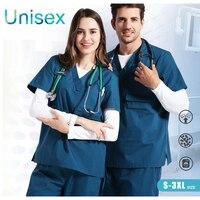 2017 Hospital & Dental Clinic Woman Man Doctor Short Sleeve Surgical Uniform Isolation Scrub Set,Classical Medical Suit Set zz01