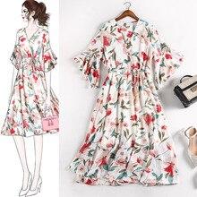 Summer Dresses V neck Chiffon Dress Female Elegant Holiday Beach Sundress Elastic Waist Bohemian Floral Women 5XL pius size